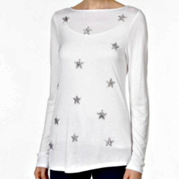 0e092737f3d6a INC Top White Silver Embellished Sparkle Stars XL. NWT. INC International  Concepts